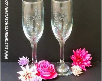 Wedding glasses | bride and groom glasses | custom etched glasses | bridal party glasses | DEPOSIT ONLY