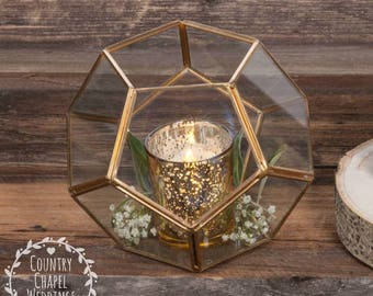 Gold Geometric Terrarium ~ Wedding Terrarium ~ Succulent Terrarium ~ Geometric Wedding Centerpiece ~ Geometric Centerpiece ~ Gold Wedding