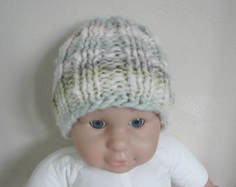 Hand knit hat green blue white chunky kids hat size 1 - 1.5 yrs warm comfortable winter chunky multicolor baby hat toddler boy girl hat