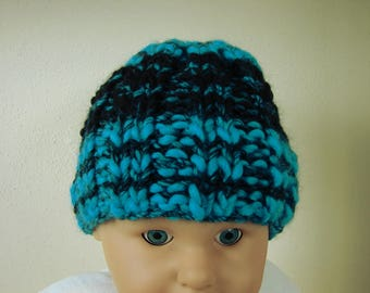 Hand knit hat black blue kids hat size 1 - 1.5 yrs warm comfortable winter baby hat knit chunky baby hat, toddler hat, black hat, blue hat