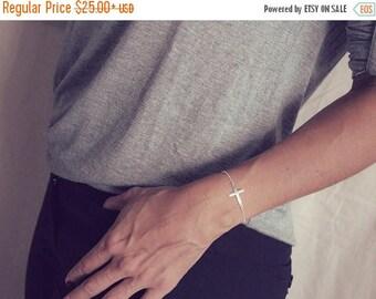 SUMMER17 Gold Sideways Cross Bracelet / Gold Cross Bracelet / Sideways Cross Jewelry / Gold Cross Bracelet / Dainty Side Cross Bracelet / Si