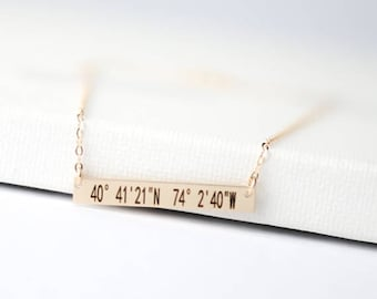 SUMMER17 Latitude Longitude Necklace /  Coordinates Necklace Gold / Rose Gold, Silver  / Custom Location GPS / Personalized Bar Necklace