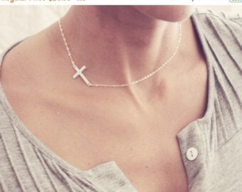 ON SALE Sideways Cross Necklace / 14K Gold Horizontal Cross Necklace /Side Cross Necklace / Cross Necklace Sterling Silver / Layered Necklac
