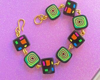Unique and Original Designer Polymer Clay Bracelet - Cubist Spirals !