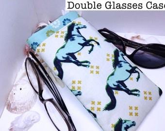 Wild Horses Double Glasses Case, Double Pocket Sunglasses Pouch, 2 Pocket Eyeglasses Case, Eyeglasses Organizer