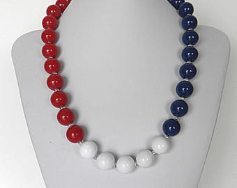 Red white and blue patriotic necklace, July 4th necklace for women, 4th of July jewelry for her, USA patriotic jewelry, Fourth of July
