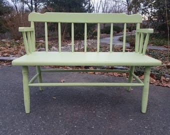 Hand Painted Antique Wooden Bench - LOCAL PICKUP / DELIVERY Only