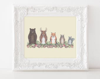 "Woodland nursery art, Nesting Dolls illustration, Nursery wall art, Woodland Nursery, Kids Art Print, Cute Woodland Animal Print, 8""X10"""