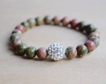 Unakite Bracelet / Unique Gift Idea / Meditation Bracelet / Yoga Bracelet / Gift for Her / Genuine Gemstone Bracelet / Unakite Jewelry