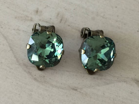 Erinite Swarovski Crystal Clip On Earrings, Antique Brass