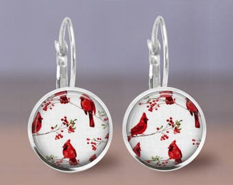 Red Bird Cardinal Print Small Leverback Stud Post Fish Hook Wire Earrings Gift for her by Gracie V Jewelry Designs