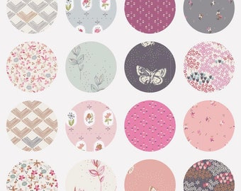 Bundle Options Dollhouse by Amy Sinibaldi for Art Gallery Fabrics with crystal pink solid- 17 Fabrics