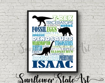 Personalized Dinosaur Poster, Dinosaur Birthday Poster, Dinosaur Art, T-Rex Poster, Triceratops Poster, Dinosaur Typography, Boys Room Decor