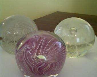 Lot-of 3-Vintage Art-Glass-Paperweights-Signed-C-G-McKenzie-Ed-Broadfield-Etc.