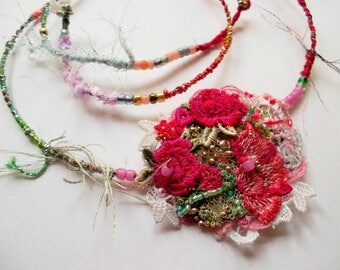 Fabric necklace pink red handdyed silkcord fabric chain vintage lace pendant embroidered vintage flowers wrapped silk choker