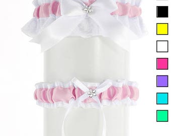 Wedding garter set, bridal garter set, white pink lace garter,  wedding lingerie, handmade plus size satin garter, bride garter, puppy PP1