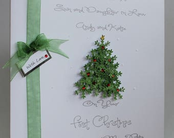 Lovely PersonalisedHandmade1st Christmas Mr and Mrs, Xmas Tree Christmas Card. Son Daughter in Law, Daughter Son in Law, Auntie Uncle