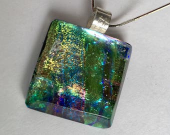 Gold and Yellow Dichroic Glass Necklace