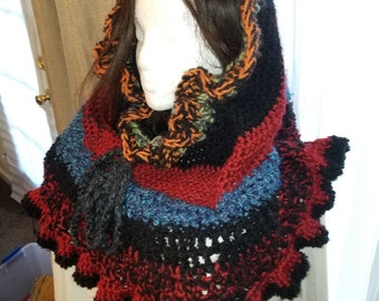 Multi-Color Patchwork Skirted Hood