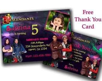 Descendants 2 Invitation, Descendants Birthday Invitation, Descendants Personalized Invitations, Descendants Printabless
