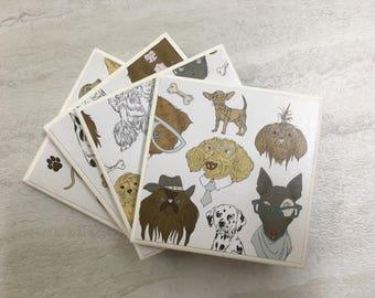 Tile Coasters, Ceramic Coasters, Dog Coasters, Dog Decor, Dog Gift, Puppy Decor, Puppy Gift, Puppy Coasters. Handmade Coasters, Coasters