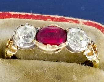 Victorian  Components Diamond and Ruby Ring 14k Gold
