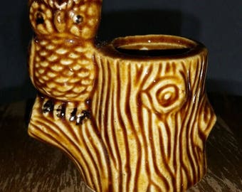 Ceramic owl toothpick holder figurine collectible bird decor sculpture kitschy, perched, 1980s