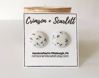 Covered Button Earrings - Something Blue Earrings - Bridal Earrings - Nickel Free Earrings - Button Earrings - Fabric Earrings