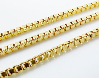 "Italian 10k Solid Yellow Gold Box Chain 22"" Brand New 1mm"