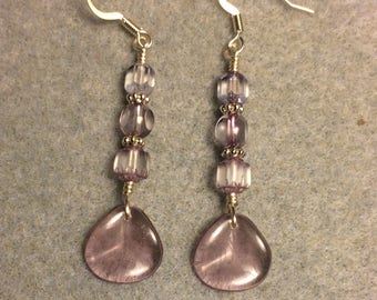 Translucent light violet Czech glass rose petal dangle earrings adorned with light violet Czech glass beads.
