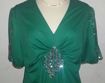 Vintage 1960s/1970s Emerald Green Sequin Jersey Dress Mid Century Modern Mad Men