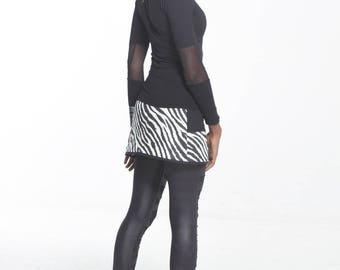 Zebra skirt with Pocket and zipper on the front 'Emi-Zion' underground clothing.