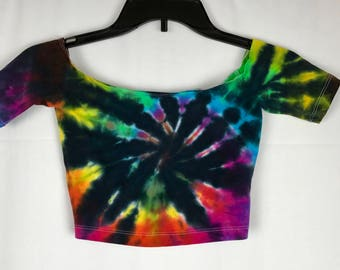 Extra Small Tie Dye Off the Shoulder Crop Top Rainbow / Black XS