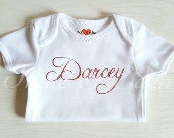 Rose Gold Baby Girls Personalised Name Newborn Vest Baby Grow Babygrow Cake Smash Photo Prop