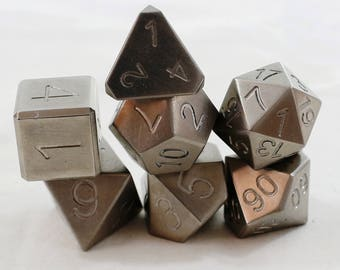 Zucati Dice: Titanium Polyhedral Set of 7 with Case