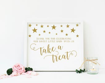 Twinkle Twinkle Little Star Dessert Table Sign, Favor Table Sign, Please Take a Treat Sign, Gender Neutral Baby Shower Decor, Digital - SG1