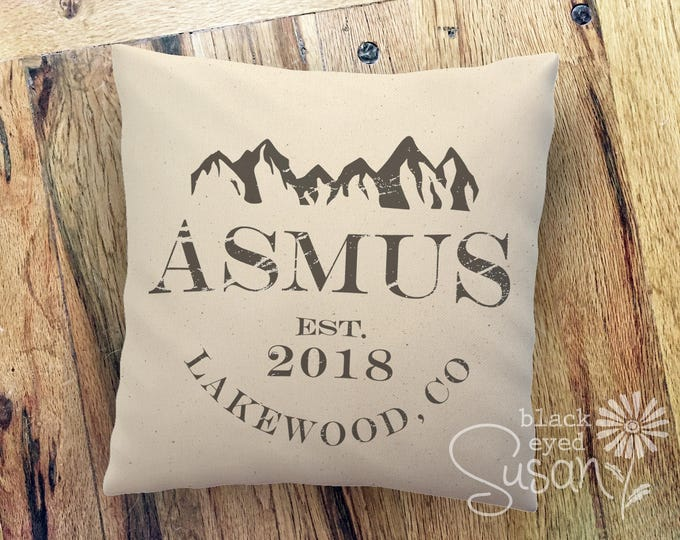 Personalized Mountain Range Pillow Cover w/ Last Name, City & Year | 100% Cotton Canvas or Lined Burlap | 12x12, 16x16, 20x20