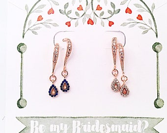 "Bridesmaid Tiny Rose Gold ""Diamond"" or ""Sapphire"" Earrings, Dainty Rose Gold CZ or ""Sapphire"" Drop Earrings, Elegant Bridal Party Earrings"