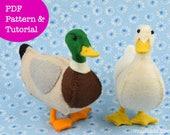 Duck Sewing Pattern, Felt Animal Pattern, Stuffed Animal Pattern, Felt Toy, Handmade Gift, Mallard Duck, Home Decor