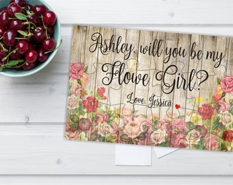 Will you be my Flower vintage puzzle, Flower Girl proposal, Bridesmaid puzzle, Bridesmaid proposal, Junior Bridesmaid, Bridesmaid invitation