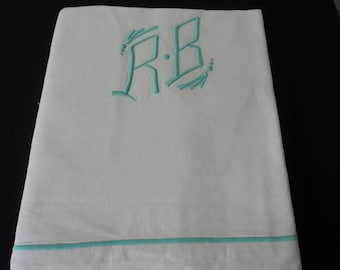 French vintage metis linen bed sheet with green embroidered initials (04831-32)