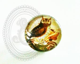 Ring round retro OWL glass cabochon