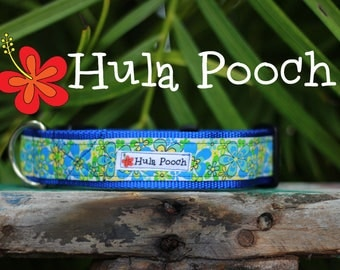 """Dog Collar """"Happy Hibiscus"""" White Lime Green Turquoise  -  Medium, Large, Wide, Adjustable // FREE SHIPPING"""