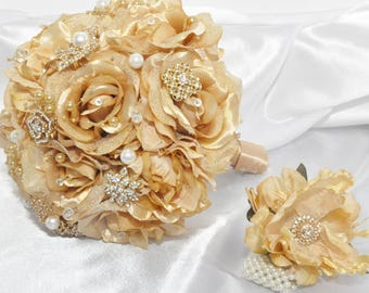 Gold Silk Bridal Bouquet with hand corsage