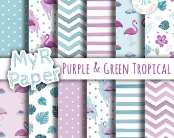 "Flamingo digital paper: ""Purple & Green Tropical"" backgrounds with monstera leaves, flamingos, lotus and water lily. Digital Scrapbooking"