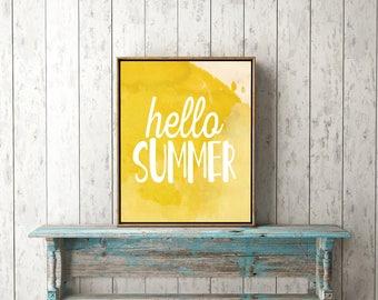 Hello Summer- Watercolor Summer Prints - Printable Instant Download