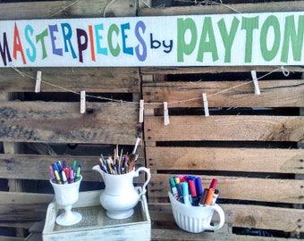 Kids Art Display - Personalized Art Display - Kids Artwork Display - Grandkids Sign - Childrens Room Decor - Kids Room Decor - Kids Art