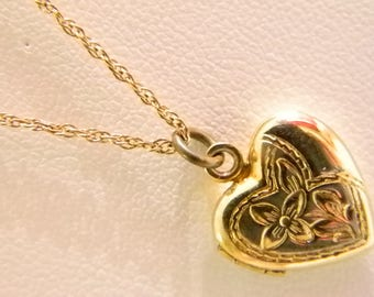 Gold Tone Heart Photo Locket With Chain Necklace ( Chain is 14K Gold Filled)