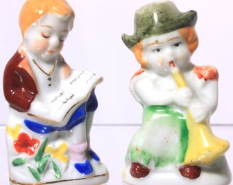 Occupied Japan Porcelain Figurine, Boy Reading and Girl Playing Horn, Collectibles, Home Decor