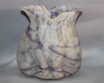 Czech Glass Pillow Vase Bohemian Czechoslovakia possibly Welz